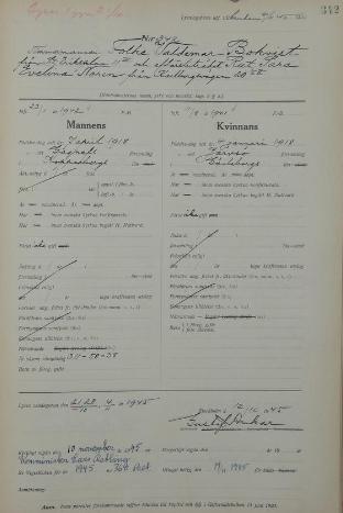 Utdrag ur lysningsboken för Gustav Vasa församling (AB) för Folke* Valdemar Bokvist och Rut* Sara Evelina Norin, 1945.
