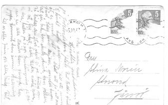"""I oktober 1947 skickar Rut en gratulationshälsning till sin mor """"Stina"""". I privat ägo."""
